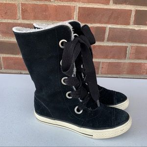 Converse all star black suede mid calf boots